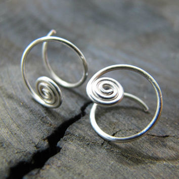 Tiny Spiral hoop earrings, small Silver hoops, sterling silver spiral small hoop earrings, hoop earrings, everyday small earrings,