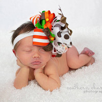 Baby girl headband, big hair bow, baby over the top hair bow, and  newborn photo prop