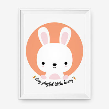 Woodland nursery art, Stay playful little bunny, children decor animal for kids rooms