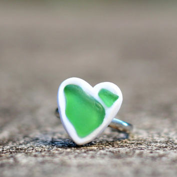 Sea Glass Heart Ring - Handmade - Polymer Clay - Genuine Sea Glass - Natural Sea Glass - Unique - OOAK - Made in Hawaii - Meinko