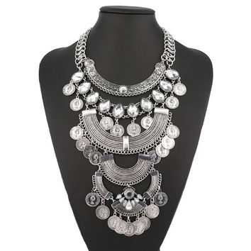 Multilayer antique chunky big statement silver plated bib stone chain necklace jewelry