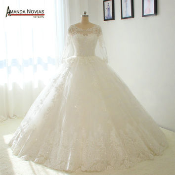 Straps Long Sleeves Puffy Ball Gown Wedding Dresses No Train Bridal Dress
