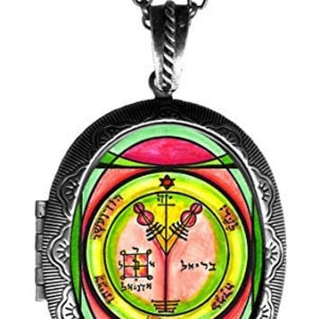 Solomons 4th Seal of Jupiter for Wealth & Honor Xl Solid Perfume Locket Antique Silver