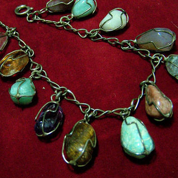 Sterling Silver Caged Stone Charm Bracelet, Wire Wrapped Lapidary Polished Stones, Mid Century Jewelry 917