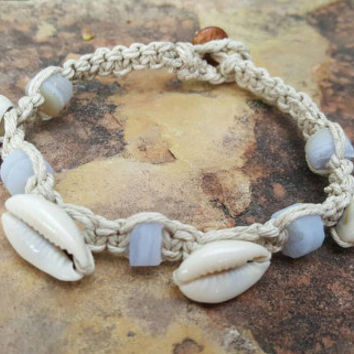 Hemp Anklet, Cowrie Shell Jewelry, Rough Cut Chaldony, Shell Anklet, Natural Hemp Jewelry, Handmade, Summer Anklet, Gemstones, Cowrie Shells