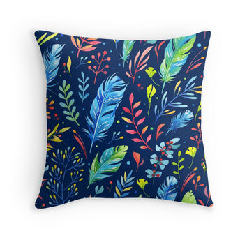 'Watercolor Floral Pattern' Throw Pillow by sale