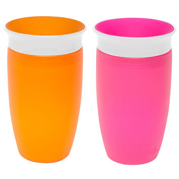 Munchkin Miracle 360 Degree 2 Pack 10 Ounce Sippy Cup - Pink/Orange with Color Lids