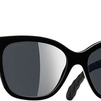 Black Butterfly Quilting Chanel Sunglasses with Black Mirror Lenses