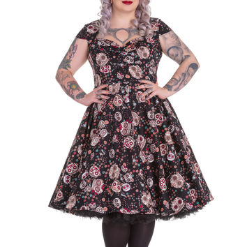 Plus Size Calavera Day of the Dead Flower Sugar Skull Print Black Party Dress