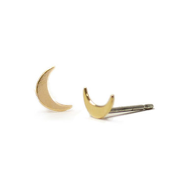 Kris Nations Crescent Moon Stud Earrings Gold Plated & Sterling Silver