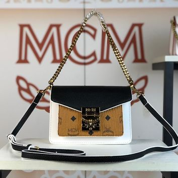 Kuyou Gb79810 Mcm 19 New Patricia Crossbody Bag Black Twist Chain Wallet In Visetos With Two-tone Leather 18x13x8cm