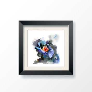Blue Rose Watercolor Painting Art Print, Watercoloiur Art, Abstract, Modern Art