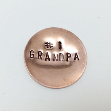 Number 1 Grandpa, #1 Dad Copper Golf Marker  - New Dad, Father's Day, Grandfather's Gift