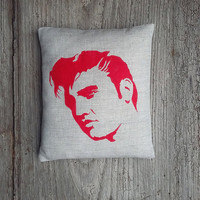 Hand painted Elvis pillow, Small linen Elvis decorative pillow, Elvis Presley throw pillow, Elvis cushion , HOME DECOR, Gift for her