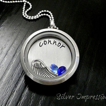 Remembrance Locket / Angel Wing Floating Locket / Memorial Locket