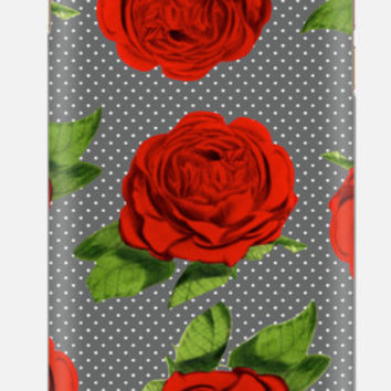 iPhone 6 Case , Rose with Polka Dots iPhone 6 case , Red Rose iPhone case, iPhone 5c case, Vintage Floral Case, cellcasebythatsnancy