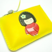 Sakura The Geisha Doll Leather Purse ( Yellow / Red )