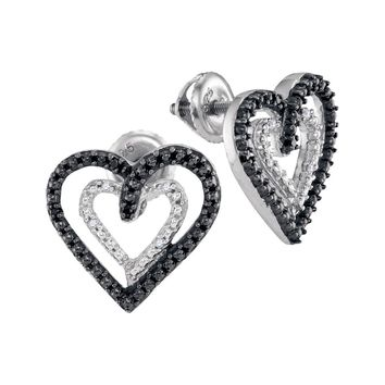 Sterling Silver Womens Round Black Colored Diamond Double Heart Stud Earrings 1/20 Cttw