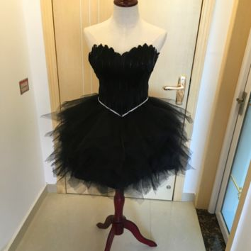 Fashion black evening dress short feathers wipes dress pompong small dress