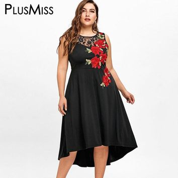 PlusMiss Plus Size 5XL Sexy Floral Embroidery Lace Midi Dress Women Sleeveless Embroidered Elegant Evening Party Dress Big Size