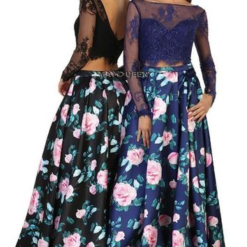 Floral 2 piece prom dress & Fab party dress   Mq1511 - CLOSEOUT