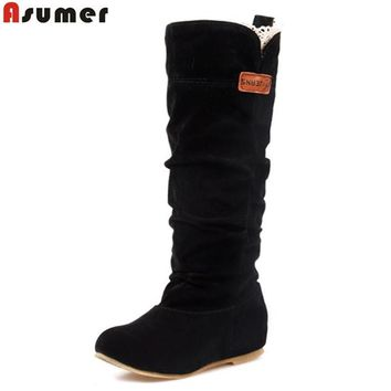 new 2017 fashion female woman knee high boots flat heel nubuck leather motorcycle wome