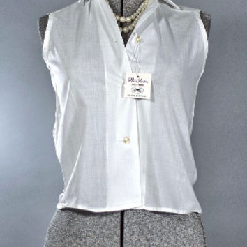 Vintage 1960 Teen White Cotton Blend Blouse by MIss Preston