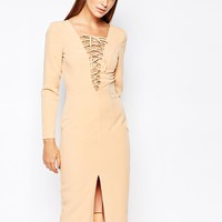 The 8th Sign Lace Up Front Longsleeve Bodycon Dress