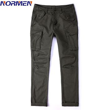 NORMEN Brand Men's Casual Solid Cargo Pants Top Grade Plus Size Cotton Full Length Loose Fit Pants For Men Military Cargo Pants