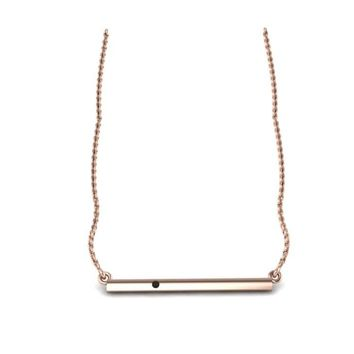 Delicate 14K Rose Gold Bar Necklace with Champagne Diamond