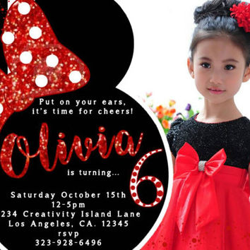 Black And Red Minnie Mouse Birthday Invitations Whi