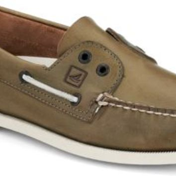 Sperry Top-Sider Authentic Original Laceless 2-Eye Slip-On Boat Shoe OliveLeather, Size 9M  Men's Shoes