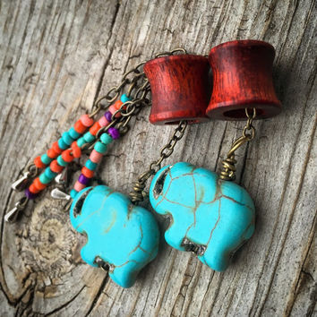 "Magnetic Tunnels w/Vintage Elephant Dangles-Sizes 0g(8mm)- 1 1/2""(38mm)Bloodwood/Ebony/Organic/Wedding/Formal/Hippie/Gift/Turquoise Stone"