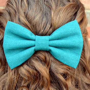 Solid Color LinenLook Hair Bows by DreamingOfBows on Etsy