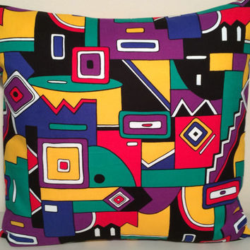 "Handmade Pillow Cover- Modern, Abstract, Fun, Geometrical Print - READY TO SHIP - 16"" X 16"""