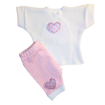Baby Girls' Pink Gingham and Hearts Shorts Clothing Outfit