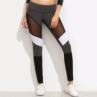 See Through Mesh Insert Stitching Patchwork Leggings