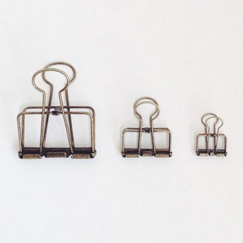 Vintage BRASS SET - Stationery Clips, Paper Clips, Office Organizer,  Binder Clips, Office Stationary Clips, Decorative Clips