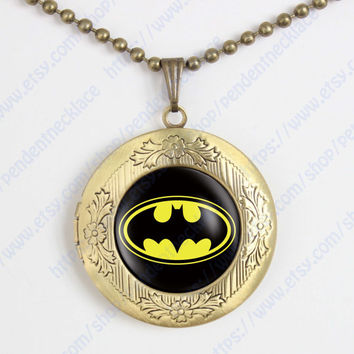 Batman locket necklace, superhero pendant Batman vintage pendant locket necklace superhero gift