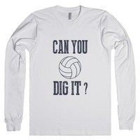 Skreened Can You Dig It Volleyball LS Tee-Unisex White T-Shirt