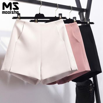 Mooishe Summer High Waisted Shorts Pocket Boyfriend White/Pink Black Ladies Short Trousers Bottoms