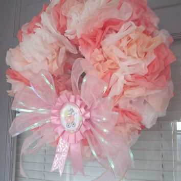 FREE SHIPPING Baby Girl Wreath! hopsital gift / baby shower gift / baby shower decorations / it's a girl / birth announcement / gift / pink