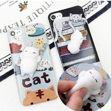 Squishy Phone Case for iPhone X Cover for iphone 8 / 8 Plus / 7 / 7 Plus 6 6S plus 5s 3D Soft Silicone Panda Pappy Squishy Cat