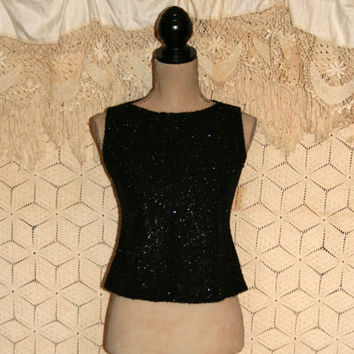 Retro Top 60s Top Sparkly Black Top Party Top Mad Men Sleeveless Top Cocktail Top Dressy Top Sexy Top Size 4/6 Petite Small Womens Clothing