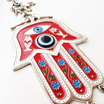 Hamsa evil eye wall hanging | hamsa wall art | hand of fatima decor | hamsa wall decor