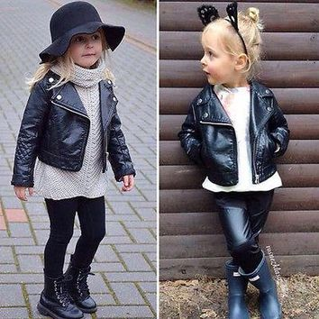 Kids Children Boys Girls Punk Leather Motorcycle Jacket Biker Coat