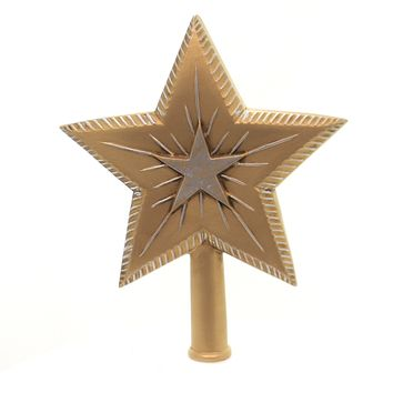 Marolin BIG BINARY STAR GOLD & SILVER Paper Mache Tree Topper Finial 200316G