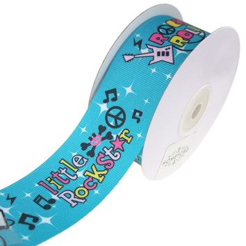 Rock & Roll Music Grosgrain Ribbon, Turquoise, 1-1/2-Inch, 10-Yard