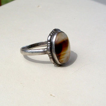 Vintage Ostby Barton Moss Agate Ring Sterling Silver Size 4.5