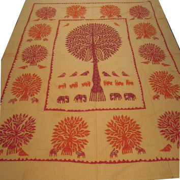 Handmade Tree Of Life Patchwork Queen Kantha Quilt Bedspread Blanket Tapestry Indian Ethnic Decoration Art
